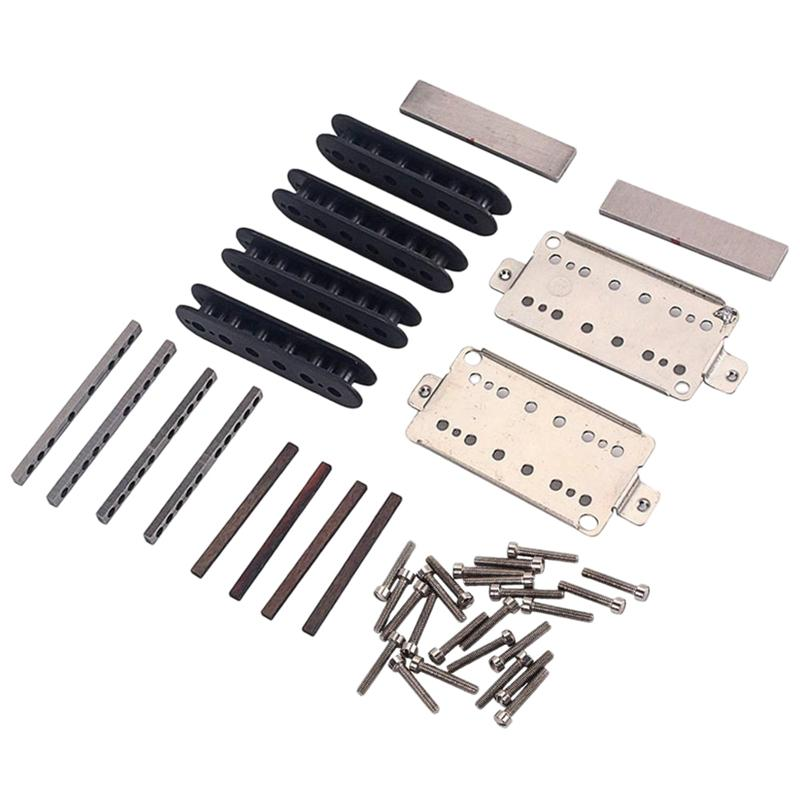 A Set Guitar Humbucker Pickup Kits Producing Accessories/Cupronickel Baseplate/Spacer/Bobbin/ Pole Slug/Bar Alnico V Magnet