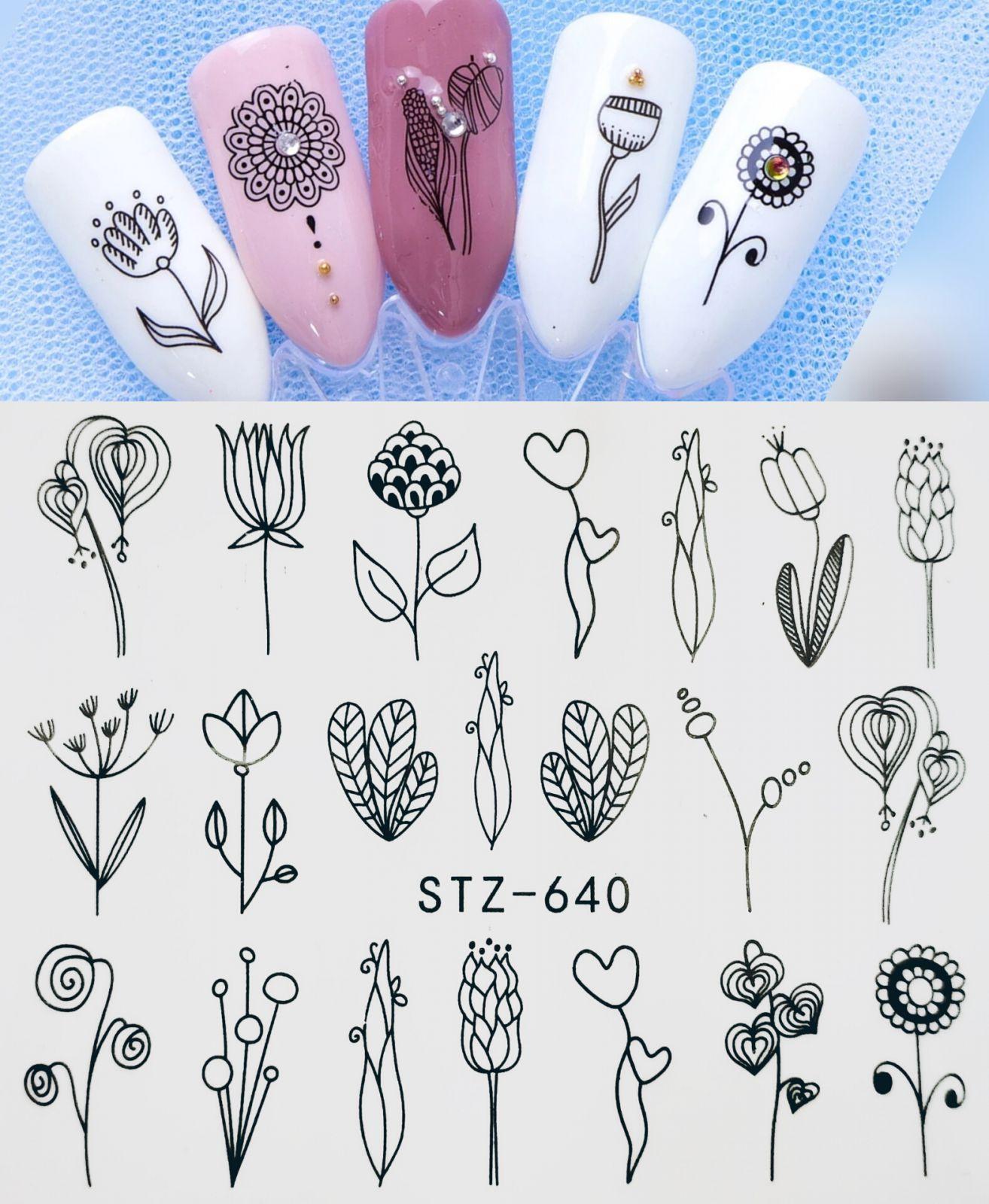 Set 5 tấm sticker nail hình xăm nước trang trí móng mã STZ608-STZ640 tốt nhất