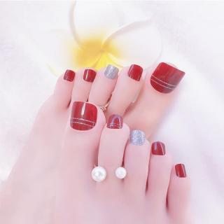 Hộp 24 Móng chân giả , nail giả , móng giả C38 (kèm keo dán) thumbnail