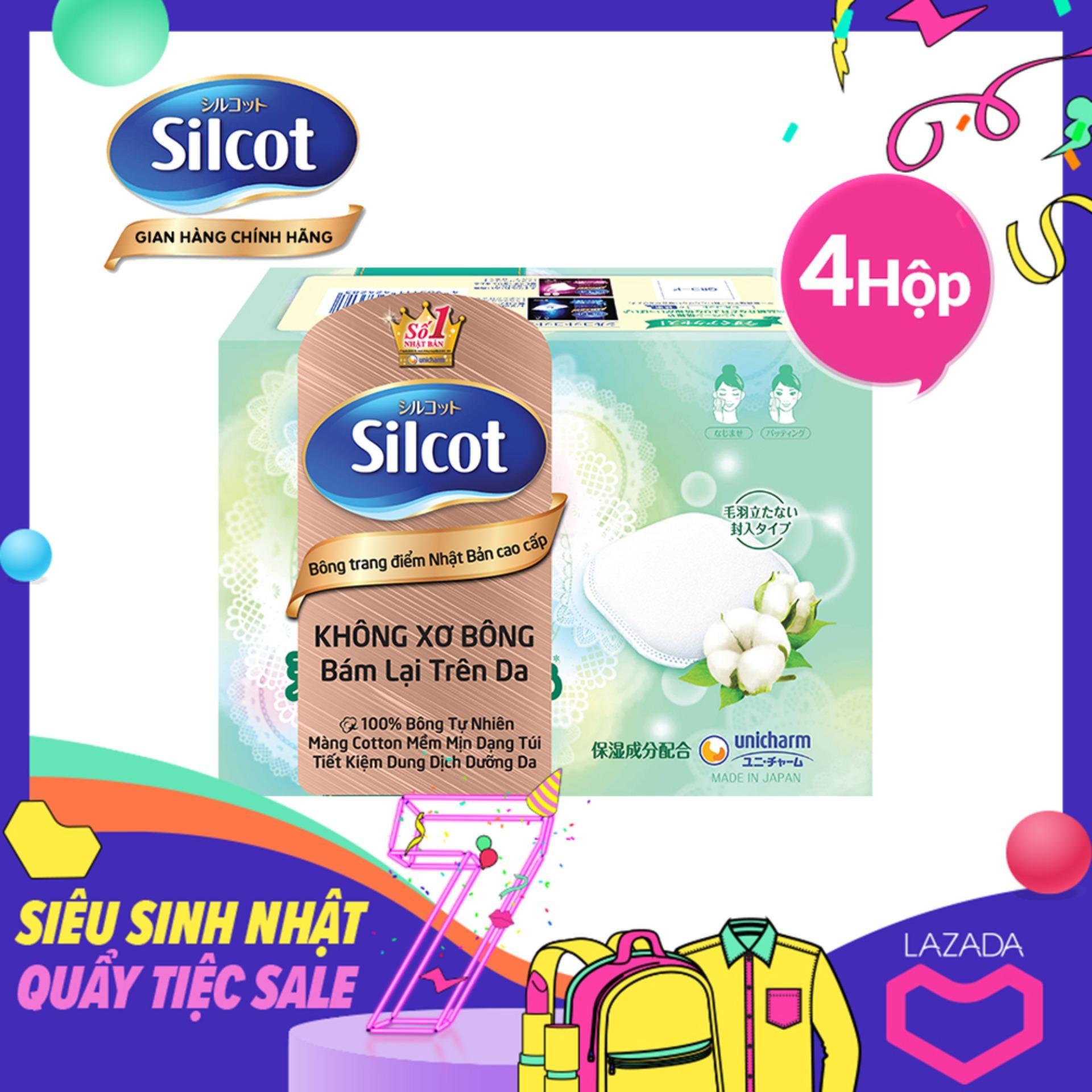 Bộ 4 hộp Bông trang điểm cao cấp Silcot Premium hộp 66 miếng
