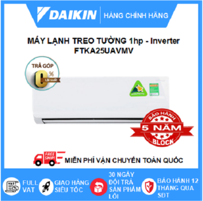 Máy Lạnh Treo Tường FTKA25UAVMV (1hp) – Daikin 9000btu Inverter R32 - Hàng chính hãng - Điện máy SAPHO