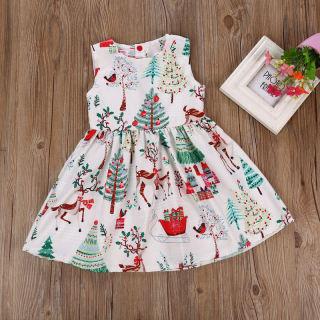 Cherful655 Đầm Trẻ Em Bé Gái Trẻ Tập Đi Trang Phục Giáng Sinh Đầm Xòe Dự Tiệc Không Tay Hình Hươu Hoạt Hình Quần Áo Cho Bé Gái 2-6Y
