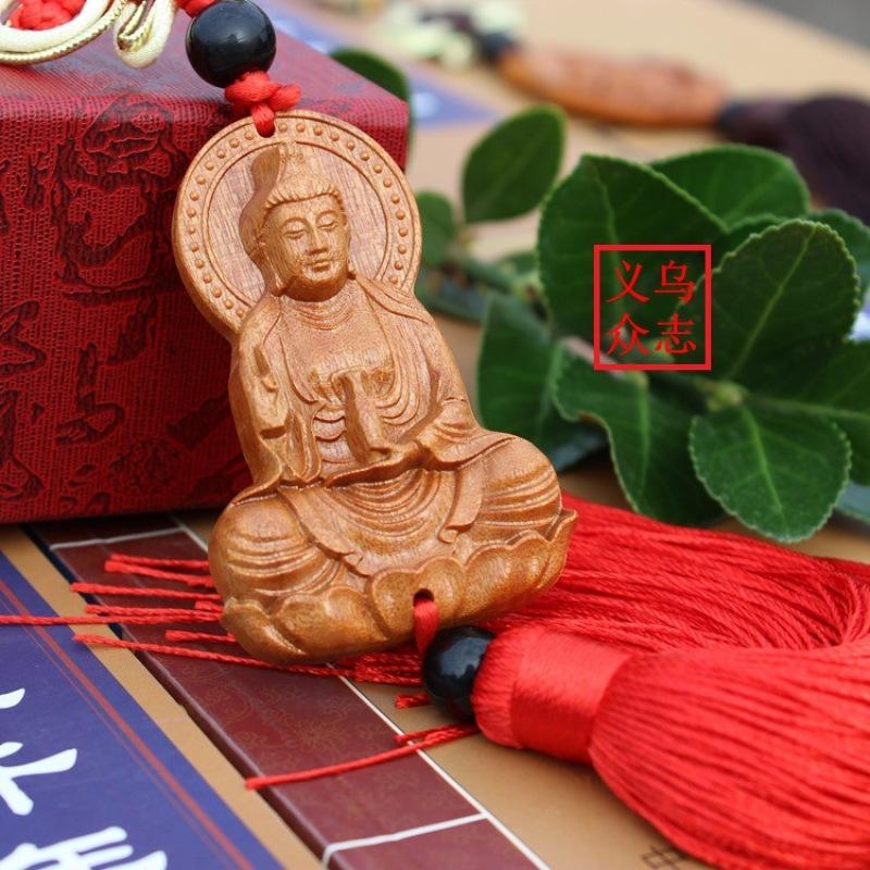 Vòng bình an tượng Đức Phật Quan Âm treo gương chiếu hậu xe ô tô  ST20 (nâu )