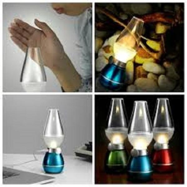 Đèn Dầu cảm ứng Điện Tử LED Thổi Tắt khi bật, không khói cảm ứng khi thổi sử dụng dây cắm điện để sạc pin thắp sáng bóng đèn