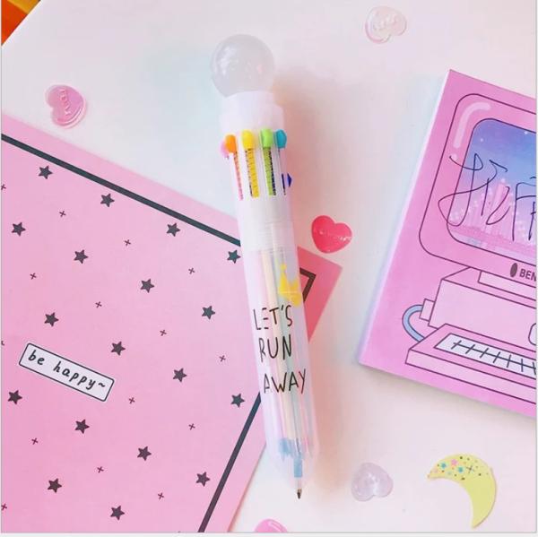 Mua Bút bi nhiều màu cute - Bút bi nhiều ngòi -Bút bi 10 màu xinh xắn cho bé