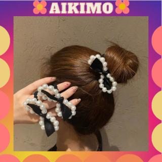 Dây buộc tóc Aikimo chun buộc tóc phong cách Hàn Quốc ngọc trai nhân tạo sang trọng xinh xắn đáng yêu ngọt ngào SC3 thumbnail
