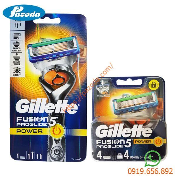 Combo dao cạo râu và hộp 4 đầu cạo Gillette Fusion5 Proglide Power (1 cán + 1 đầu cạo gắn sẵn và 4 đầu cạo dự phòng)