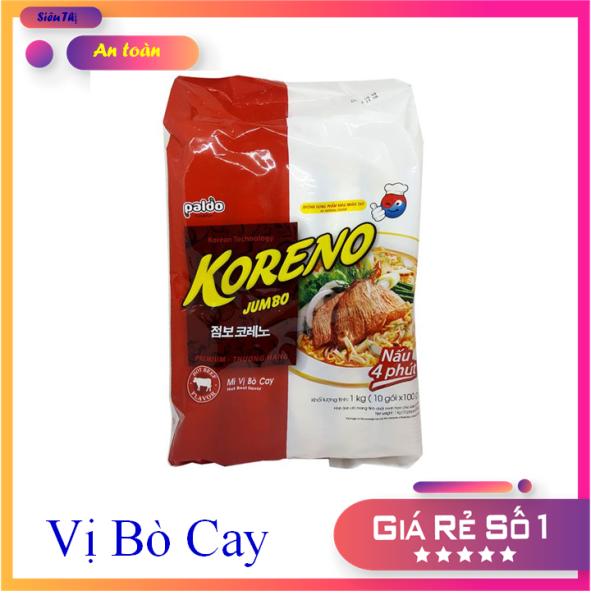 Mì Koreno Jumbo vị Bò Cay - Hàn Quốc 10 gói x 100 g nhập khẩu