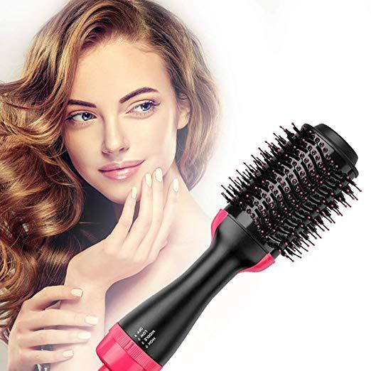 Hot Air Brush,Hair Dryer Brush, One Step Hair Dryer & Volumizer, Styler for Straightening, Curling, Salon Negative Ion Ceramic Electric Blow Dryer Rotating Straightener Curl Brush nhập khẩu