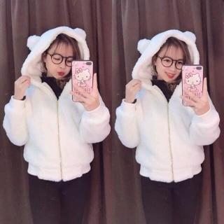 Áo khoác lông tai gấu thumbnail