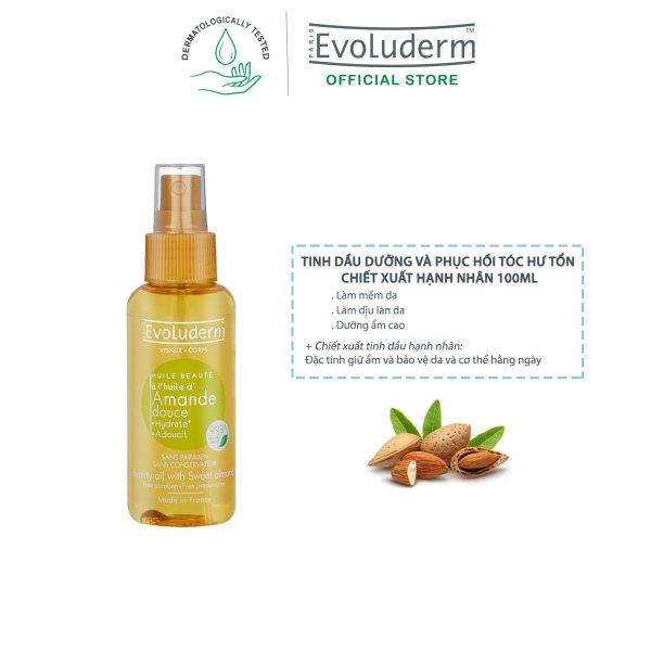 Tinh dầu dưỡng và phục hồi tóc hư tổn Evoluderm chiết xuất hạnh nhân 100ml giá rẻ