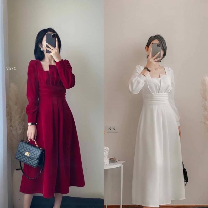 Nơi bán [Đầm 5 Size XS S M L XL ] Hai màu đỏ và trắng, Hàng thiết kế xếp ly ngực  ôm eo cổ V, đầm dài dưới chân gối 20cm