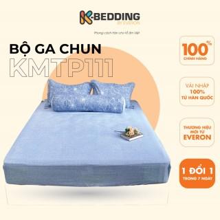 Bộ ga giường chun K-Bedding by Everon KMTP111 Xanh in hoa - Chất liệu cao cấp MicroTencel nhập khẩu Hàn Quốc, thoáng nhẹ không bai xù thumbnail