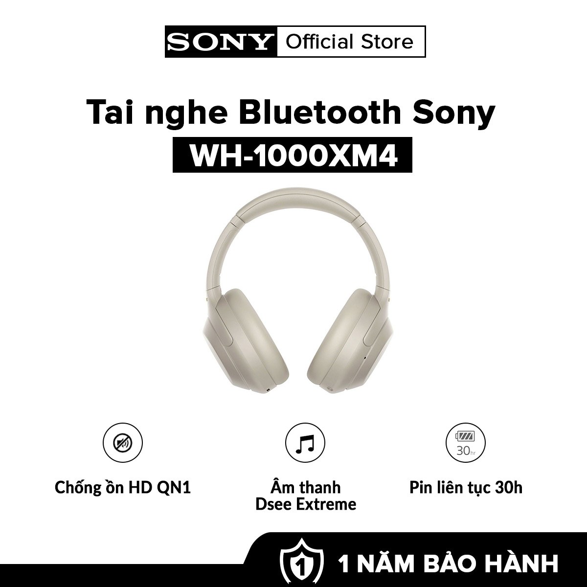 [HÀNG CHÍNH HÃNG - TRẢ GÓP 0%]  Tai nghe True Wireless Sony WH-1000XM4 l Chống ồn HD QN1 l Âm thanh DSEE Extreme™ và LDAC l Kết nối Bluetooth & NFC l Pin 30h