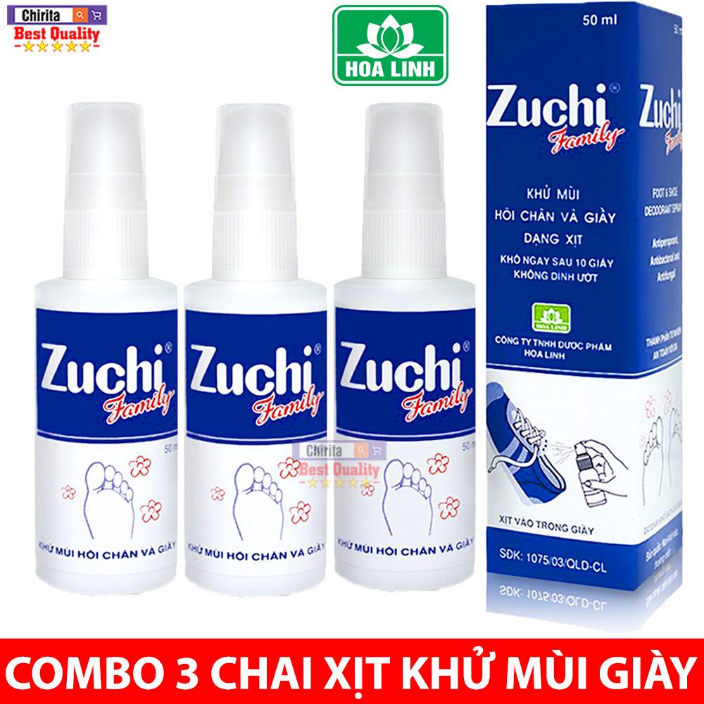 Combo 3 Chai Xịt Giày ZUCHI FAMILY 50ML - Khử Mùi Hôi Chân Hôi Giày cao cấp