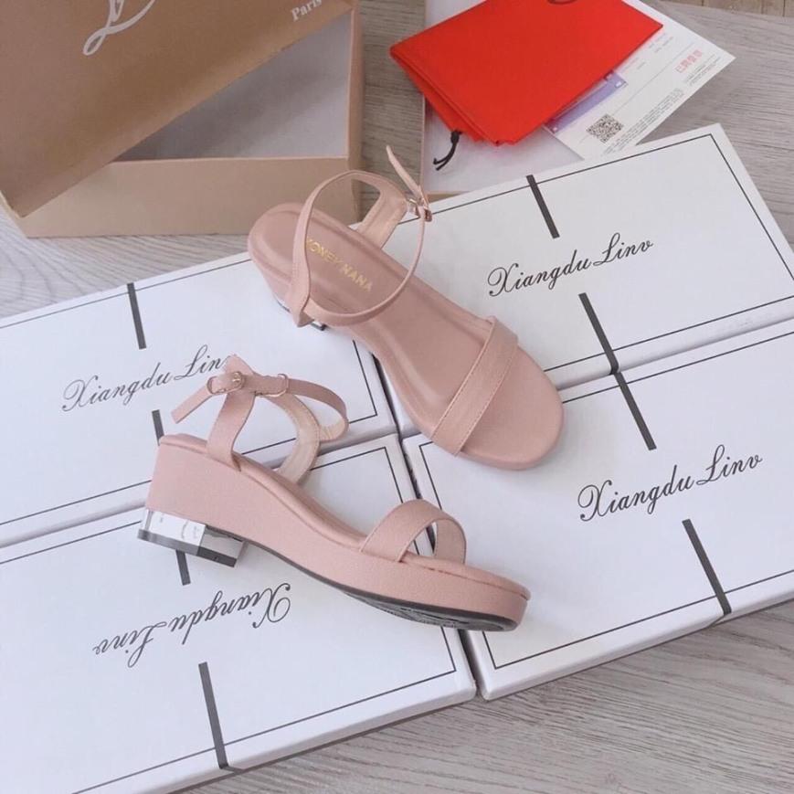 [SenXanh] Sandal đế xuồng da mịn đen, kem hồng - 5P giá rẻ
