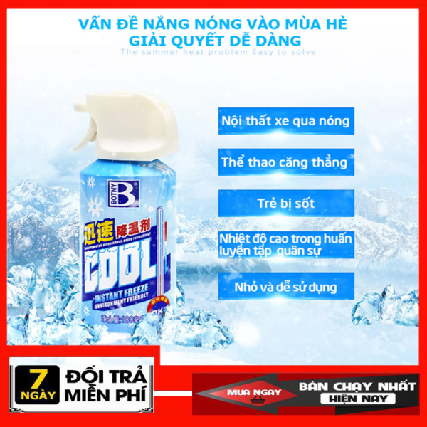 [ SIÊU HÓT ] Bình xịt làm lạnh tức thời ô tô xe máy Instant Freeze Cool 180ml - Làm lạnh nhanh, khử mùi hiệu quả. Bình xịt khử mùi làm lạnh cấp tốc xe ô tô Instant Freeze Cool.