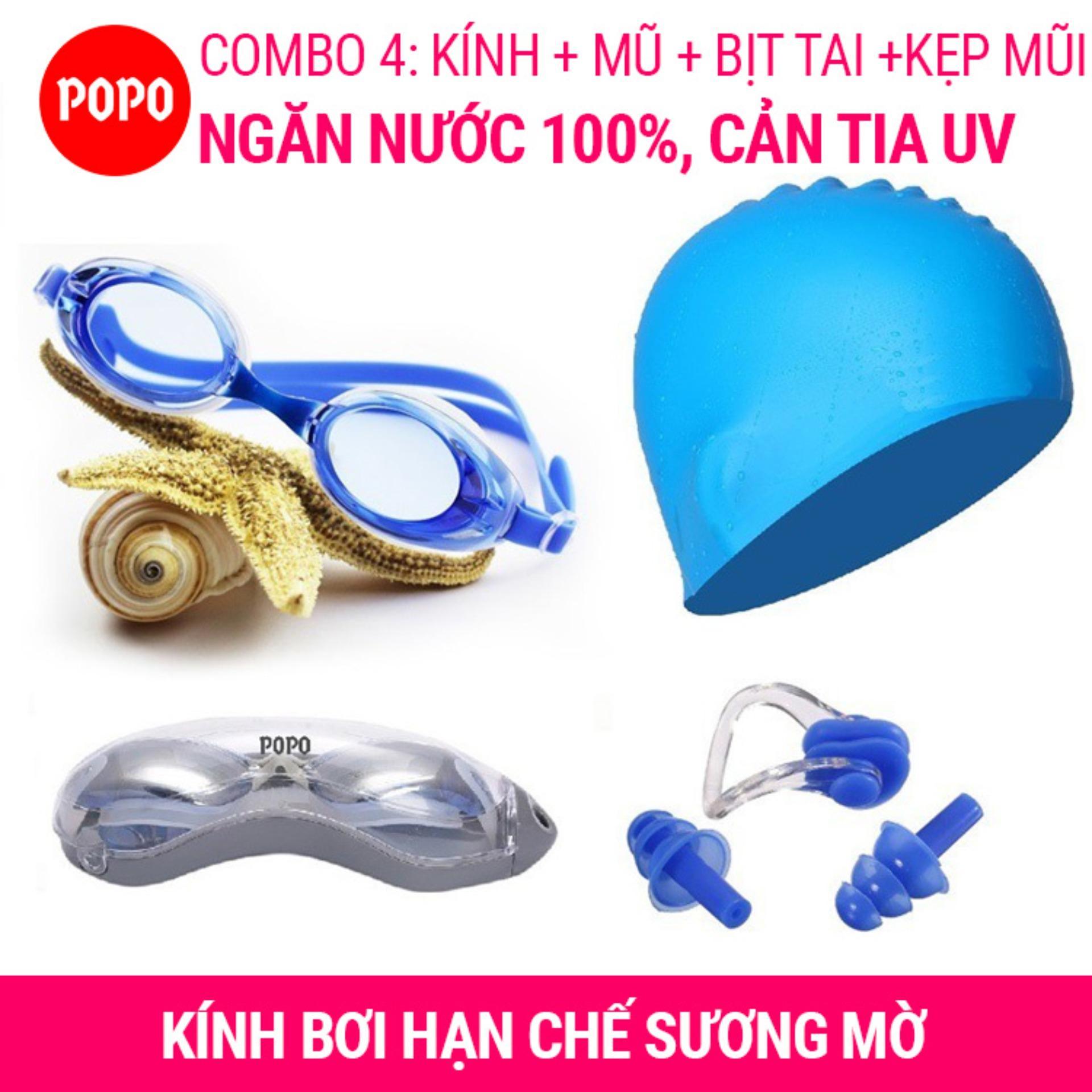 Kính Bơi Hiện đại 1153, Mũ Bơi Trơn, Bịt Tai Kẹp Mũi POPO Collection Mắt Kính Trong Chống Tia UV Chống Sương Mờ Khuyến Mãi Sốc