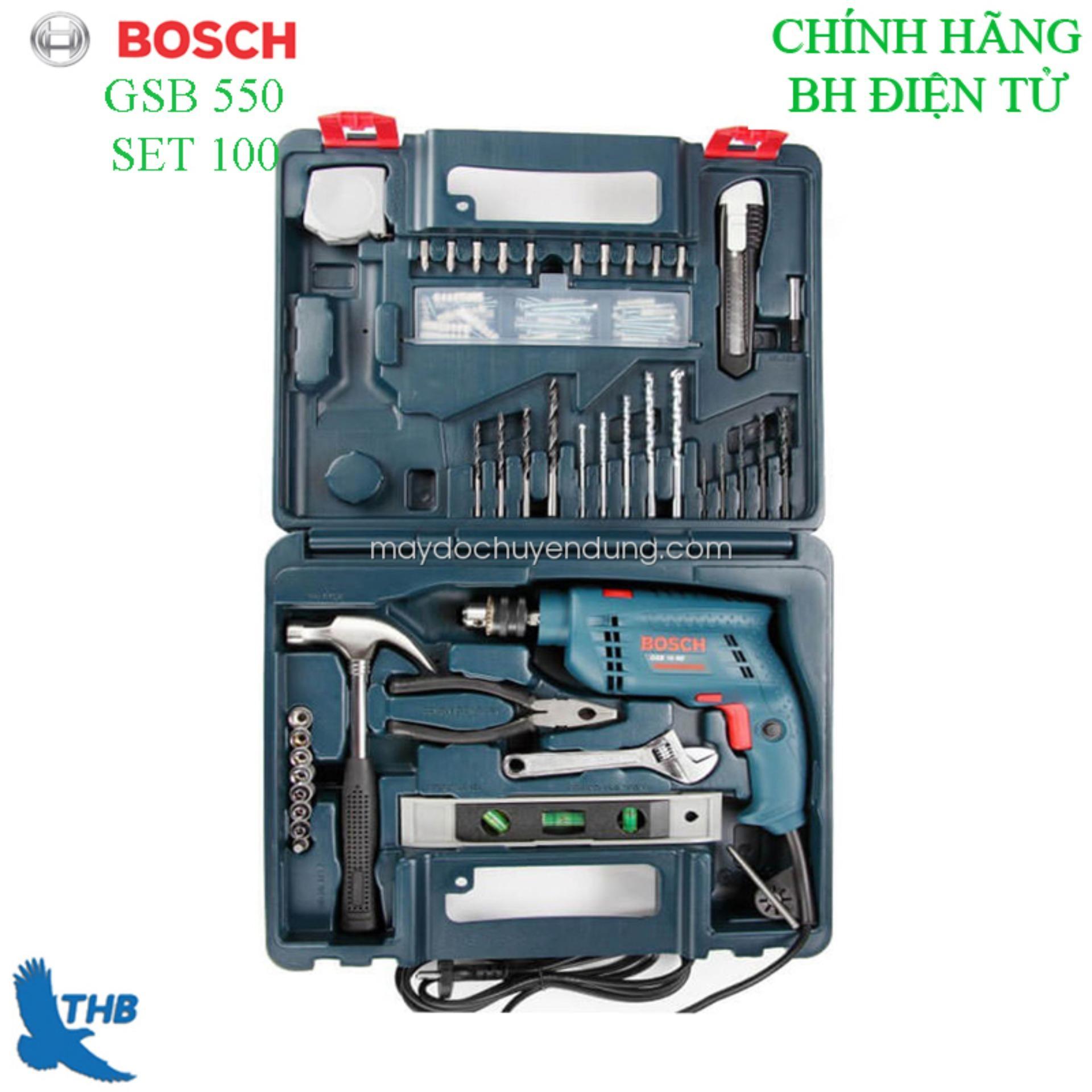Bộ máy khoan động lực Bosch GSB 550 set 100 món phụ kiện