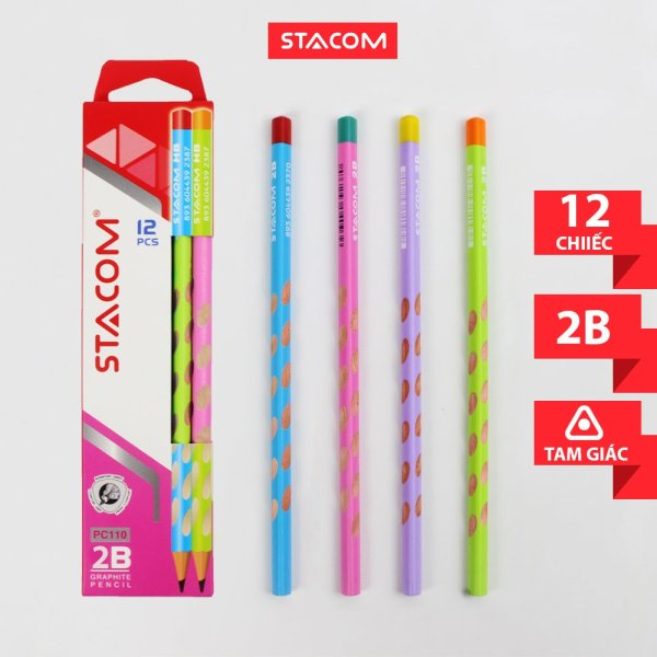 Mua (GIẢM SỐC MUA 1 TẶNG 1 ) Mua 6 cây bút chì gỗ định vị Stacom 2B/HB PC110 tặng 1 gôm ER101