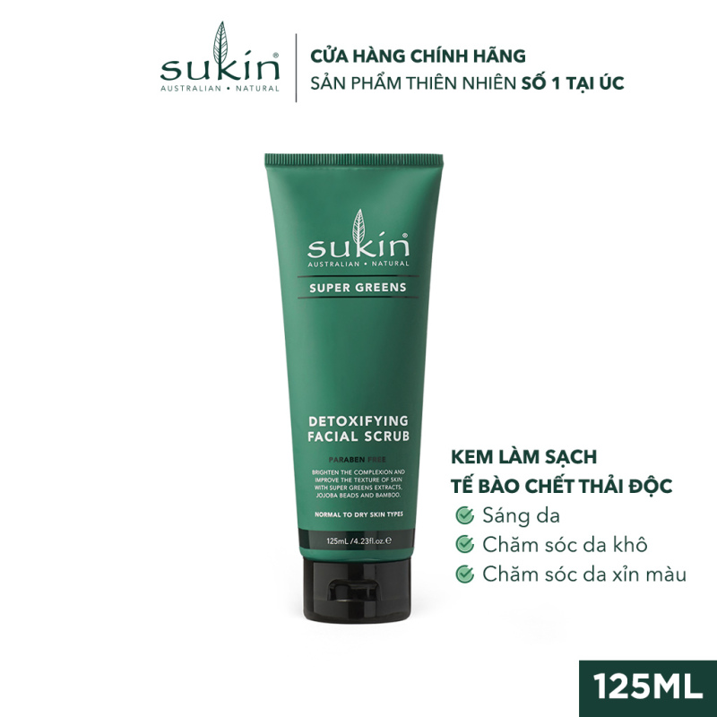 Kem Làm Sạch Tế Bào Chết Sáng Da Sukin Super Greens Detoxifying Facial Scrub 125ml giá rẻ
