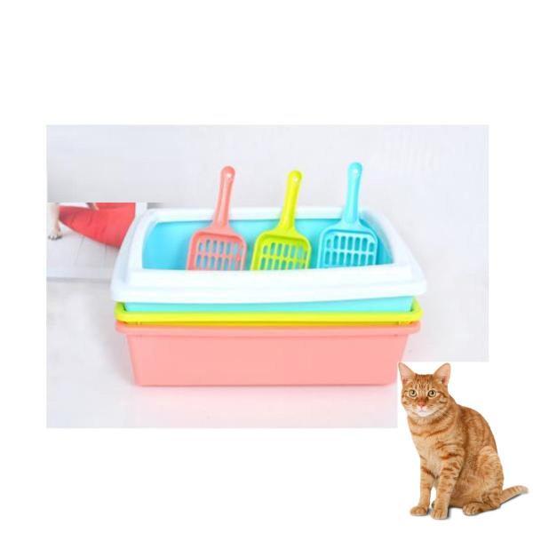 HCM -Khay đựng cát vệ sinh cho mèo có xẻng xúc cát size lớn Hình chữ nhật