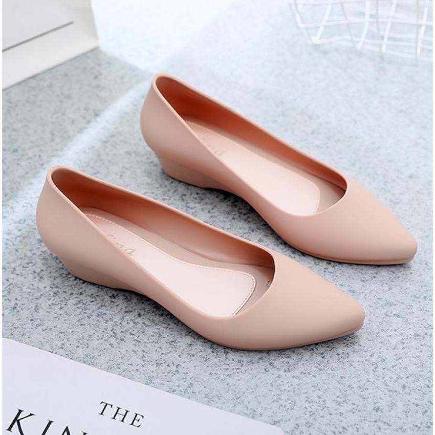 Giày nữ, Giày búp bê nữ đế bằng nhựa dẻo cao 3cm thời trang Hàn Quốc-gcg30 giá rẻ