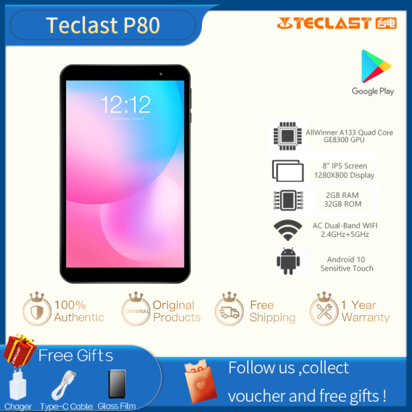 【Factory Delivery】Teclast P80 8inches Screen Size 2GB RAM 32GB ROM Android 10.0 1280 x 800 IPS Dual Cameras Tablet