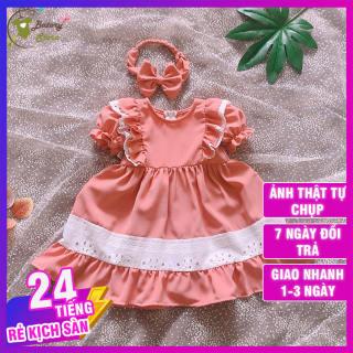 Váy đầm công chúa cho bé màu hồng đỗ phối chân thêu ren - Hàng thiết kế chất liệu siêu cao cấp, sang trọng thích hợp đi chơi đi tiệc, quà tặng  | BATORY Store