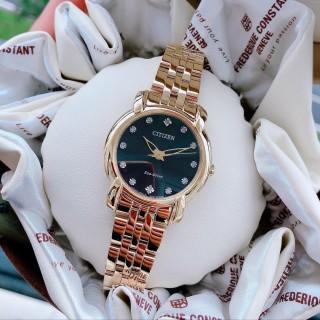 Đồng hồ Nữ Citizen Eco Drive EM0712-59E Mặt đen,Cọc số đính kim cương-Năng lượng ánh sáng-Dây kim loại thép không gỉ mạ vàng cao cấp-Size 30mm thumbnail