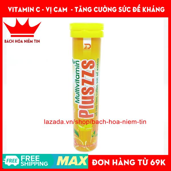 Viên C Sủi vị Cam Multivitamin PLUSZZS - bổ sung vitamin khoáng chất tăng cường sức đề kháng - Hộp 20 viên chuẩn GMP Bộ Y Tế