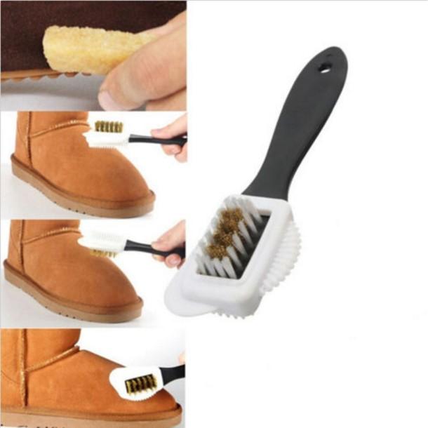 Bàn chải chà giày da lộn, vệ sinh giày tiện dụng 3 mặt giá rẻ