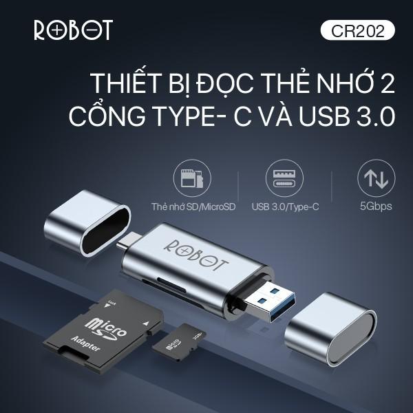 Bảng giá Thiết Bị Đọc Thẻ Nhớ SD/ MicroSD ROBOT CR202 - 2 Đầu Type-C Và USB 3.0 - Bảo Hành 12 Tháng Phong Vũ