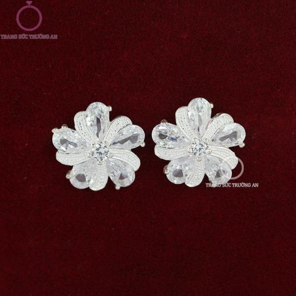 Bông tai bạc nữ đẹp hình bông hoa đính đá BTN0078 - Trang Sức Trường An