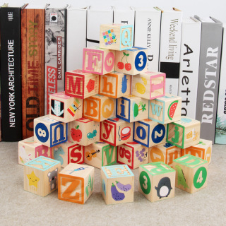 Montessori Early Education Wooden Toy Children s Colorful Alphanumeric Animal Six Area Building Blocks Stacked Cognitive Toys thumbnail