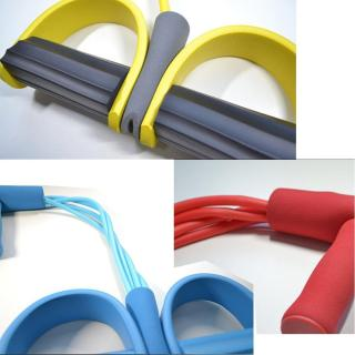 Dây kéo đàn hồi 4 ống cao su tập thể dục - tập gym tại nhà - thiết bị tập thể dục dây kéo - tập thể hình - tập toàn thân nâng cao sức khỏe - 4 ống cao su tự nhiên bàn đạp chân dây kéo đàn hồi có tay cầm 2