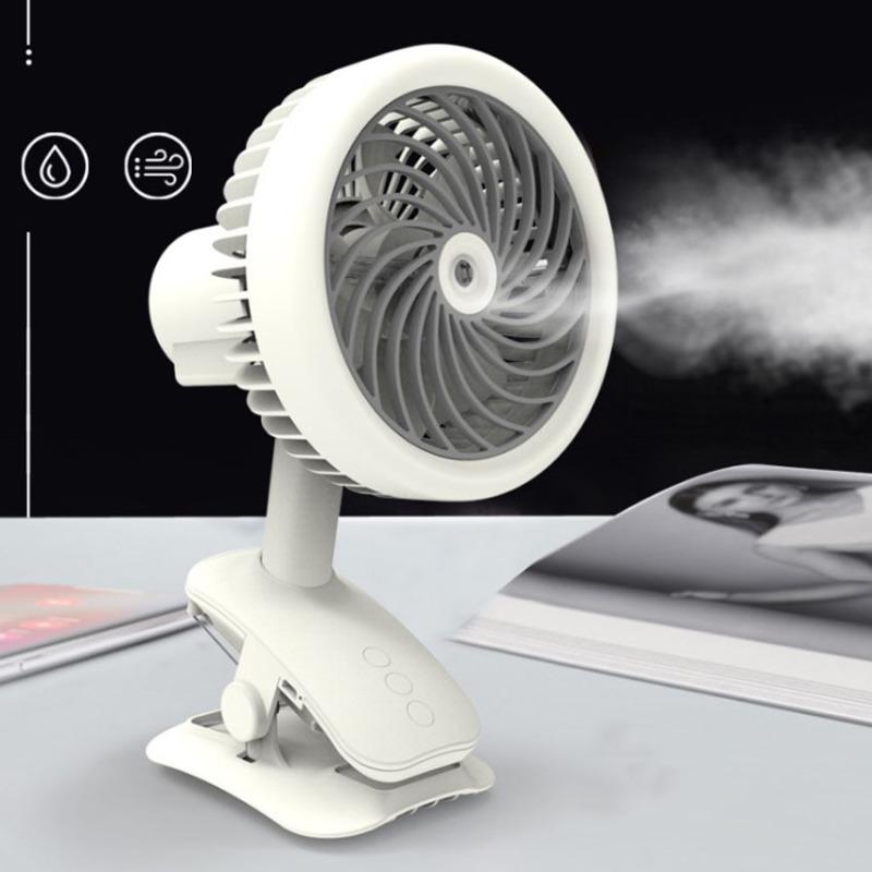 {Có Video} Quạt phun sương mini tích điện đa năng với 5 chế độ độc lập Quạt gió,Phun sương,Tích điện,Kẹp bàn,Xoay W14