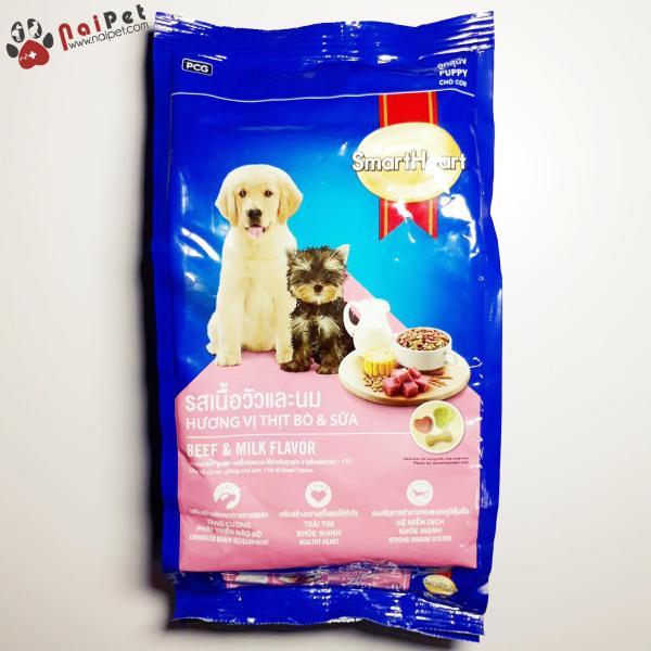 Thức Ăn Hạt Khô Vị Thịt Bò Và Sữa Cho Chó Con Puppy SmartHeart