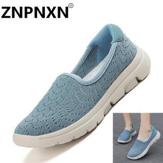 ZNPNXN Giày Lười Đế Bằng Thời Trang Cho Nữ Giày Nữ Đi Bộ Lưới Nhẹ Dệt Bay Cỡ 35-42
