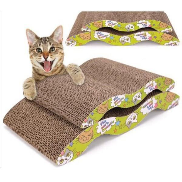 Bàn Cào Móng Cho Mèo Loại To Lượn Sóng - Giúp Mèo Thư Giãn