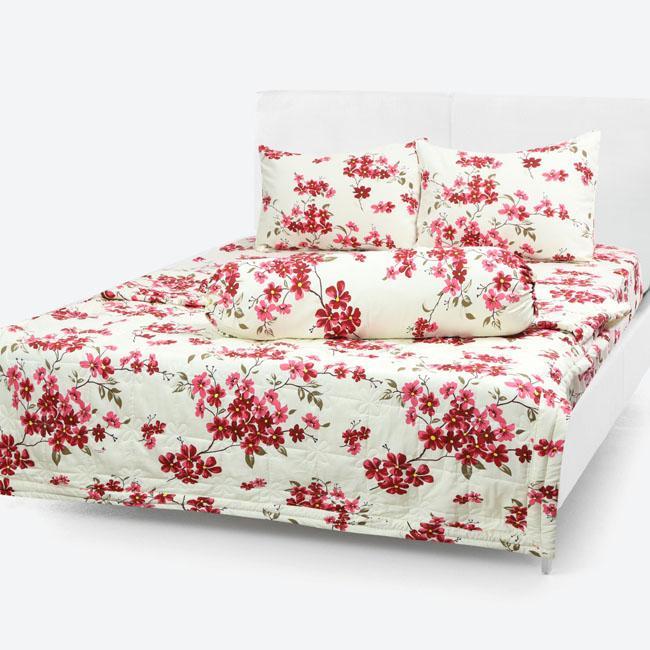 Chăn/Mền Cotton Thắng Lợi chần gòn hoa nhí đỏ 1m7x2m