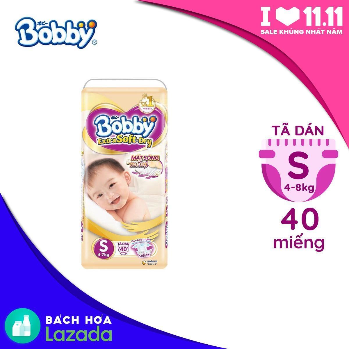Tã/Bỉm dán cao cấp siêu mềm Bobby Extra Soft Dry...