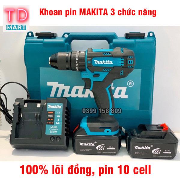 Máy khoan pin Makita 38V có chức năng búa, đầu 13 ly, 2 pin 10 cell khoan sắt, khoan gỗ khoan tường