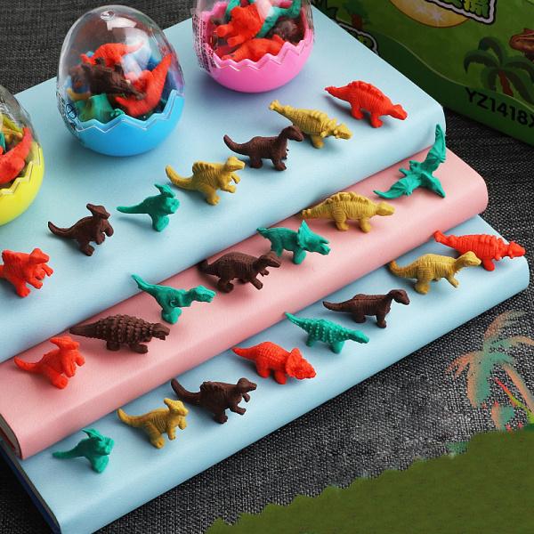 Gôm Tây Cute Mini Hình Trứng Khủng Long Trex, Set Trứng 7 Con