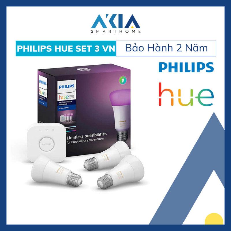 Bộ 3 Bóng Đèn Thông Minh Philips HueWCA 9W A60 E27 - Hàng Chính Hãng