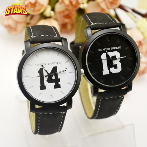 Đồng hồ cặp đôi nam nữ tình nhân mặt số 13, 14 chống nước đẹp giá rẻ dây da thể thao phong cách hàn quốc  [Tặng kèm hộp]- Honey Stars-462046 bán chạy