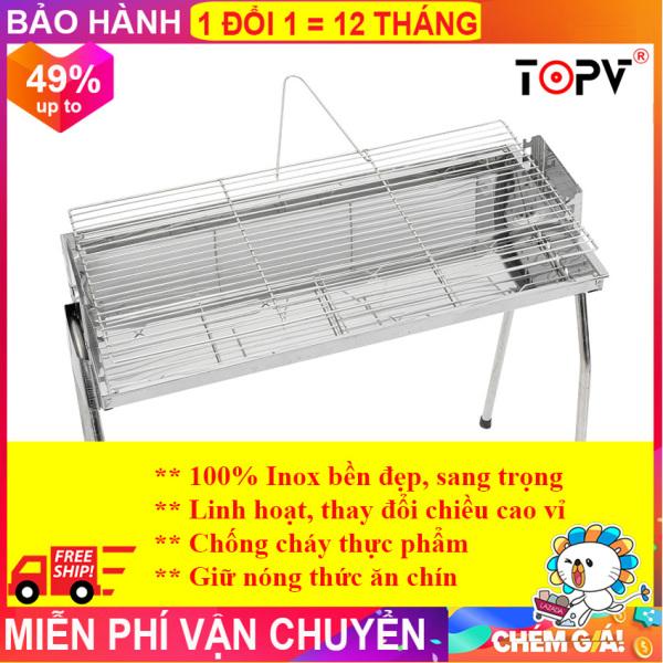 Bếp nướng than hoa TopV VCL thay đổi chiều cao vỉ, Inox không gỉ sét, chống cháy thực phẩm, an toàn sức khỏe, không cần quạt