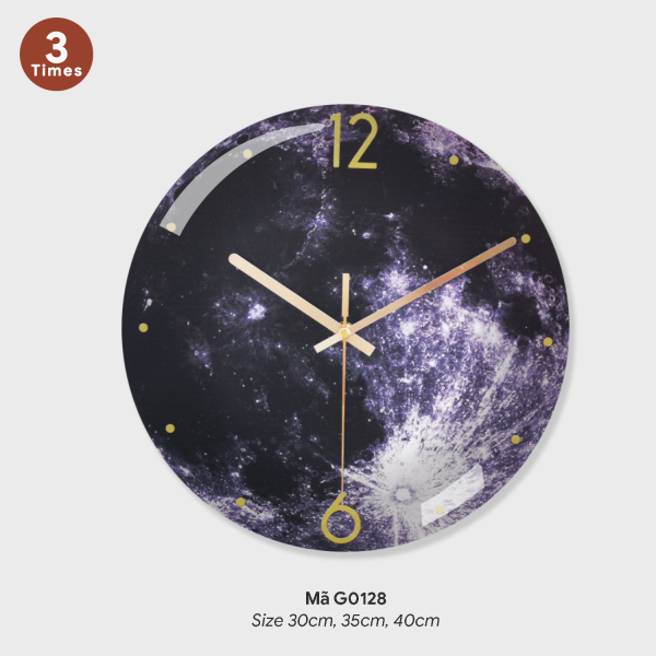 Đồng Hồ Treo Tường Galaxy, Mặt Trăng, Sao Mộc, Sao Thổ, Đồng Hồ Treo Tường Kích Thước Chuẩn 25cm