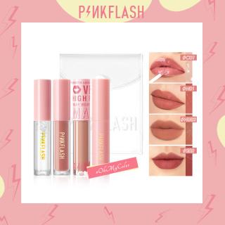 Set of 4 Lipstick Pinkflash Long Lasting Moisturizing Cream Lip Gloss +PVC transparent bag 120g thumbnail
