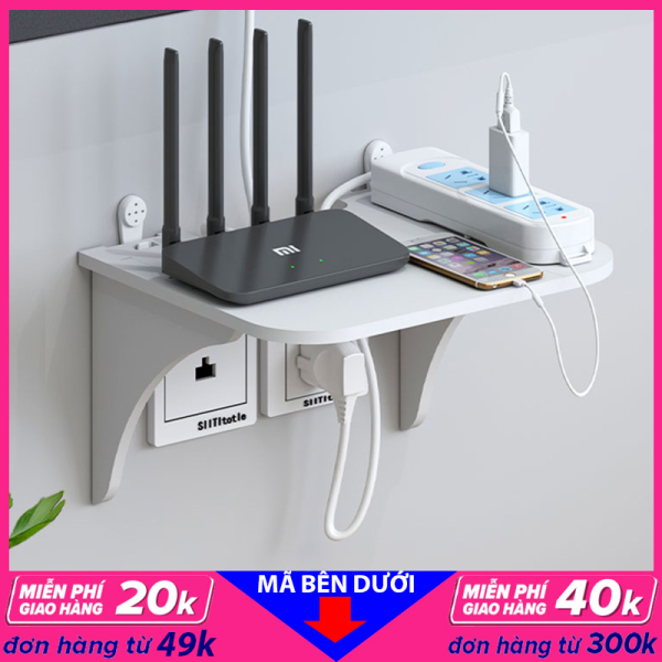 Kệ treo tường, kệ đặt modem wifi, đầu thu kỹ thuật số, remote, điện thoại, chất liệu gỗ Pitech cao cấp màu trắng